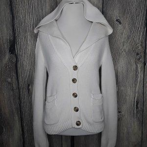 knit button up white aerie sweater, size medium